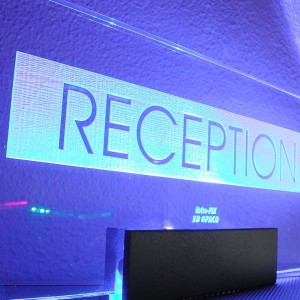 edge lit reception sign led blue