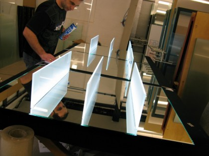 led illuminated glass shelves