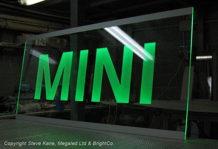 Edge Lit Ablade acrylic sign by MegaLED Ltd, green illuminated sign with PowerLED sign lighting technology