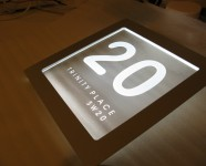 glass sign wall mounted edge lit