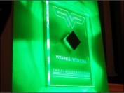 Example of custom design edge lit signage, green led illumination, BriteFix bespoke design by MegaLED Ltd, London.