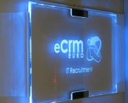 edge lit sign for office elegant design with blue leds